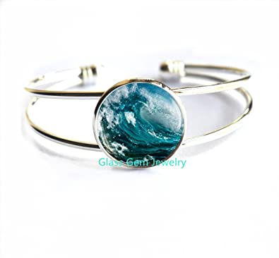 hawaiian bracelet silver b ocean genuine larimar cz aspc wave solid products natural