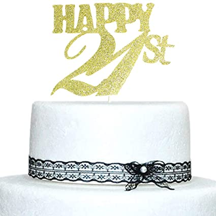 Happy 21st Cake Topper Gold Glitter For Birthday Wedding Anniversary Party Decorations