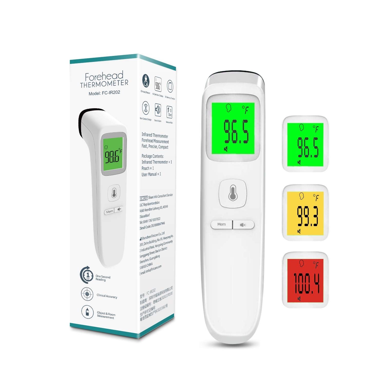 XDX Thermometer for Adults Forehead, No Touch Thermometer with Fever Alarm and Memory Ideal for Babies, Kids, Adults, Indoor Outdoor Medical Use: Industrial & Scientific