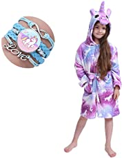 Kid Robe Bathrobe Hooded Dressing Gown Pajamas Kids Soft Unicorn Hooded Bathrobe Sleepwear Unicorn Gifts