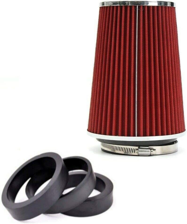 flexzon 6 Universal Red Car Sport Cone Air Filter Mesh Cone Induction Kit High Power