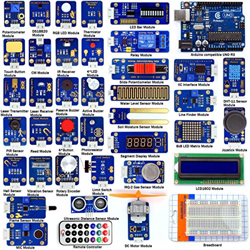 Adeept 42 Modules Ultimate Sensor Kit for Arduino UNO R3 Mega2560 Nano, Sensor Starter Kit for Arduino with Guidebook(PDF) Processing ()