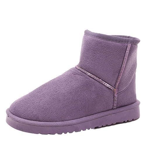 Botas de Nieve,Btruely Herren Botines para Mujer Martin Zapatos de Adulto de tacón de Mujer Botas Calientes de Ante para Mujer Otoño Invierno Antideslizante ...