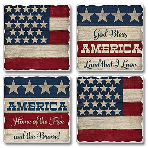 Land of the Free US Flag Print Assorted Square Tumbled Stone Coaster Set of 4