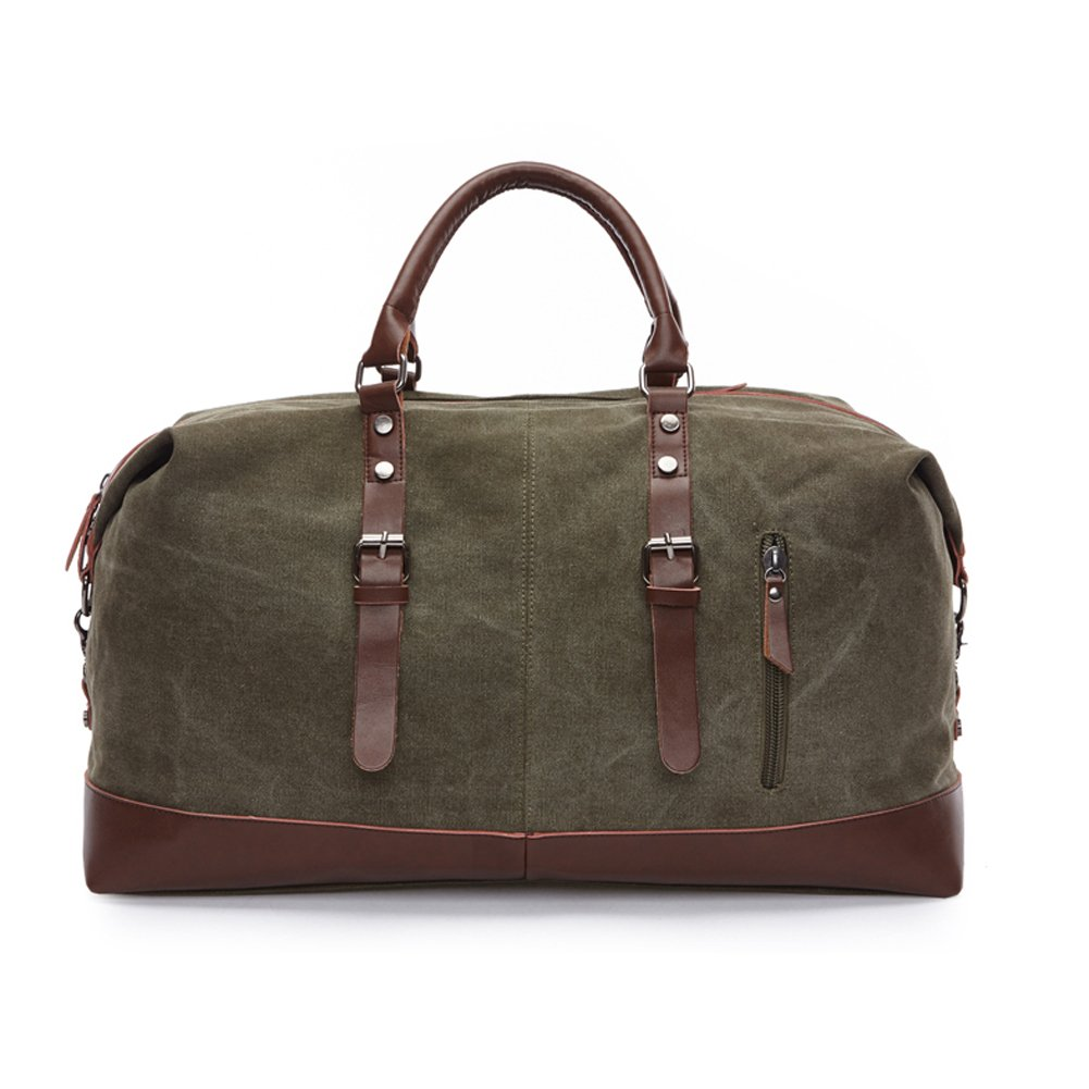 Canvas Duffel Bag Oversized Luggage Tote Bag Leather Trim Handbag Large Capcity Caryy On Overnight Weekend Travel Bag (Army Green)