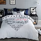 TheFit Paisley Textile Bedding for Teenager Girls and Boy U708 White Blue Many Words of Love Duvet Cover Set 100% Cotton, Twin Queen King Set, 3-4 Pieces (Twin)
