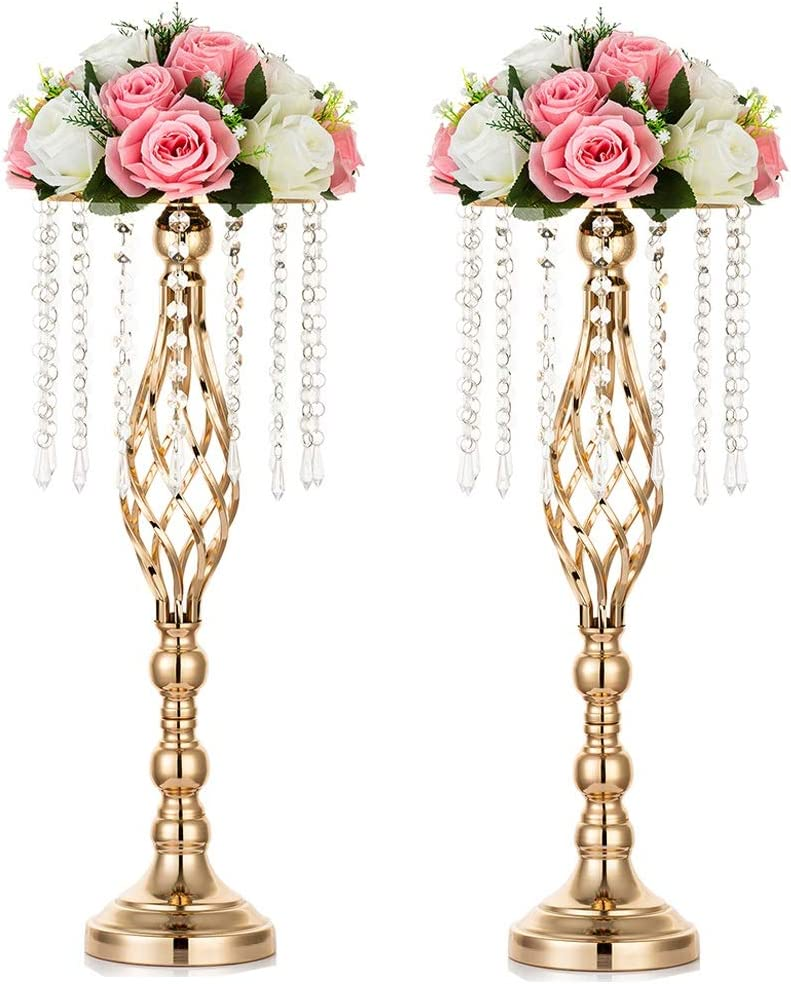 Sziqiqi Floral Centerpiece Riser Gold Tall Flower Crystal Centerpiece Stand with Crystal Beads for Event Party Wedding Reception Center Piece Floral Arrangements, 2pcs Gold 21.7''/55cm