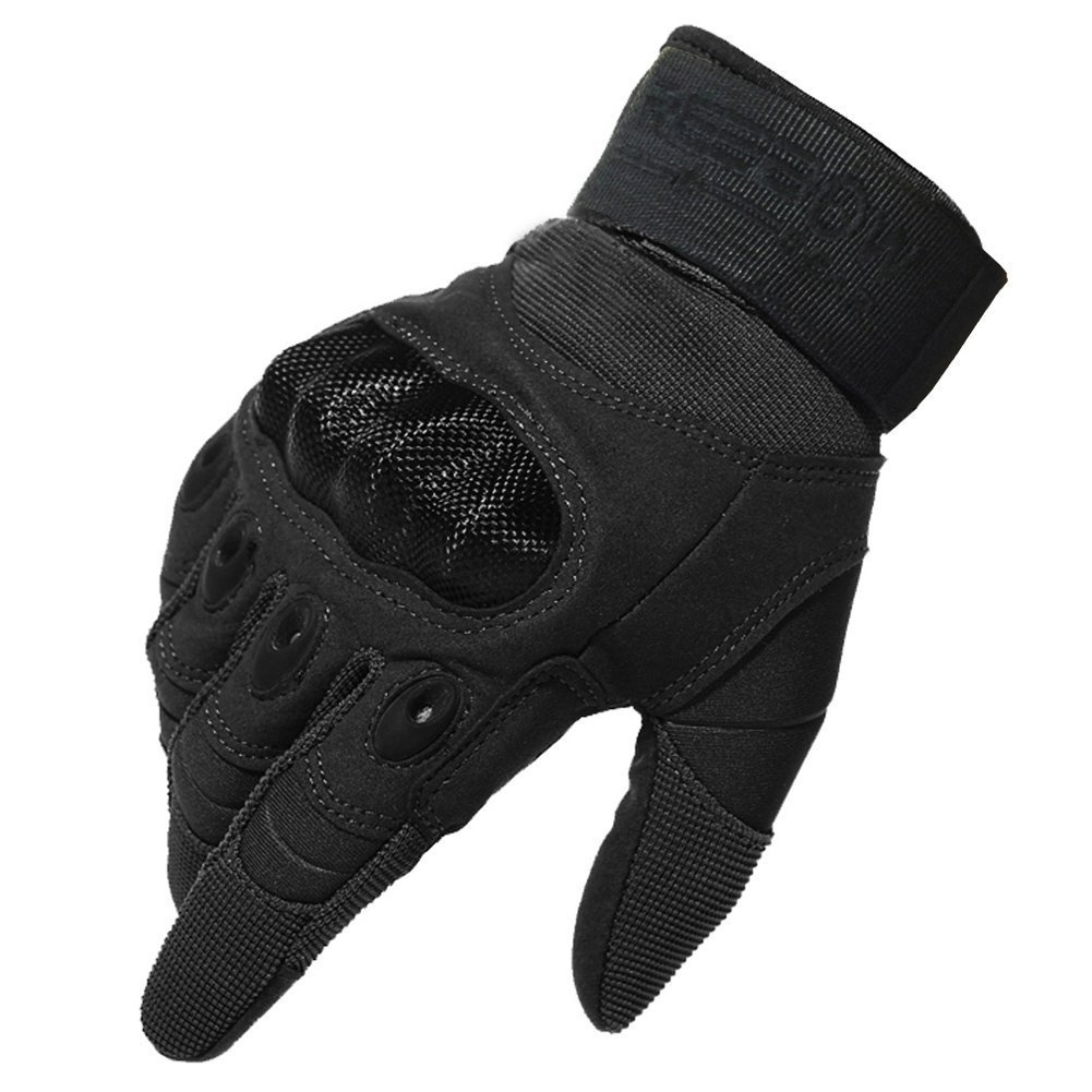 Reebow Gear Military Hard Knuckle Tactical Gloves Full Finger for Army Gear Outdoor Sport Work Shooting Paintball Hunting Riding Motorcycle Black S