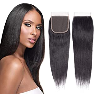 """Straight Lace Closure Free Part 130% Density 4""""×4 100% Unprocessed Brazilian Virgin Remy Human Hair Soft and Silky Lace Closure(14''Closure, Straight)"""