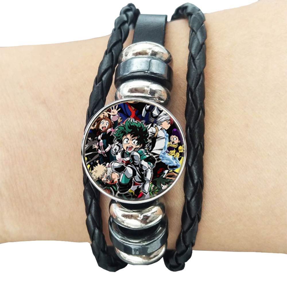 1 My Hero Academia Bracelet 1 Alloy Necklace 1 Keychain 2 Buttons 1 Phone Ring 2 Tattoo Stickers My Hero Academia Gift Set My Hero Academia Jewelry Bracelet Necklace Set for Anime Fans