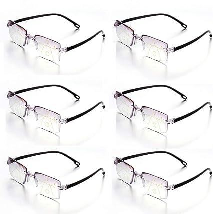 6 Gafas De Lectura Lentes Graduadas Multifocales Progresivas De Presbicia Sin Montura Con Bloqueo De Luz Azul Fuerza 1 00 Amazon Es Salud Y Cuidado Personal