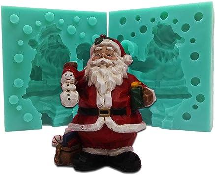 3d Silikonform Weihnachten Santa Claus Kerze Schimmel Kerzenform DIY Harz Ton Handwerk Form Fondant Kuchen Dekorationswerkzeug Kristall Epoxidharz Form F/ür DIY Figur Handwerk