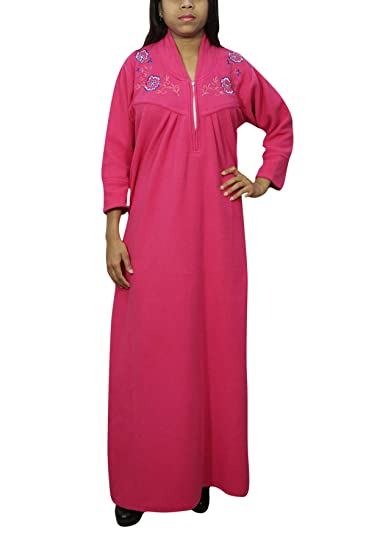 0d05c963d1 Indiatrendzs Women Winter Style Nighty Woolen Solid Pink Warm Nightdress  XXL  Amazon.in  Clothing   Accessories