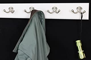"""product image for PegandRail White Coat Rack with Satin Nickel Double Style Hooks (20"""" x 3.5"""" with 4 Hooks)"""