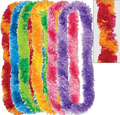 Amscan Two Tone Hawaiian Fringe Leis Summer Luau Costume Dress Up Party Headwear (Pack of 6), Multicolor, 36