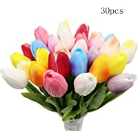 Crafare 30PC Artificial Tulip Flowers Real Touch Tulips Multicolor for Spring Wedding Bouquets Flowers Arrangement and Home Room Centerpiece Easter Party Decor