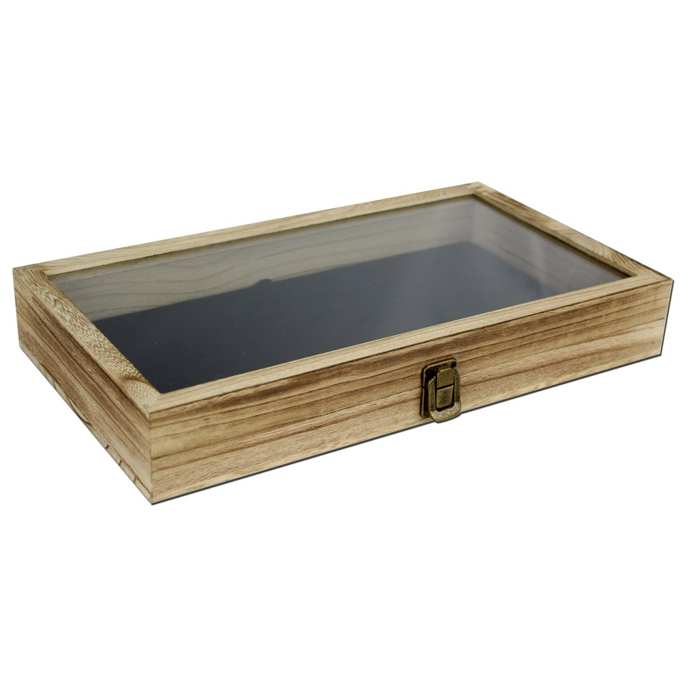 Mooca Color Wood Jewelry / Bead Storage Box in TEMPERED Glass Top Lid With Velvet Black Pad Display Box Case Medals Awards Jewelry Knife by Mooca (Image #1)