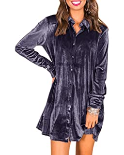 1f1db4535 Ivay Women's Fall Button Down Tshirt Dresses Velvet Tunic Dress with Pockets