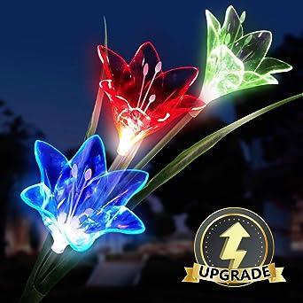 Luces Solares flores, LED Luz Solar 3 lirio Flores 7 Variaciones de Color Impermeable, Ideal Decorativa para Terraza, Macetera, jardín, Fiesta. 1 Paquete: Amazon.es: Iluminación