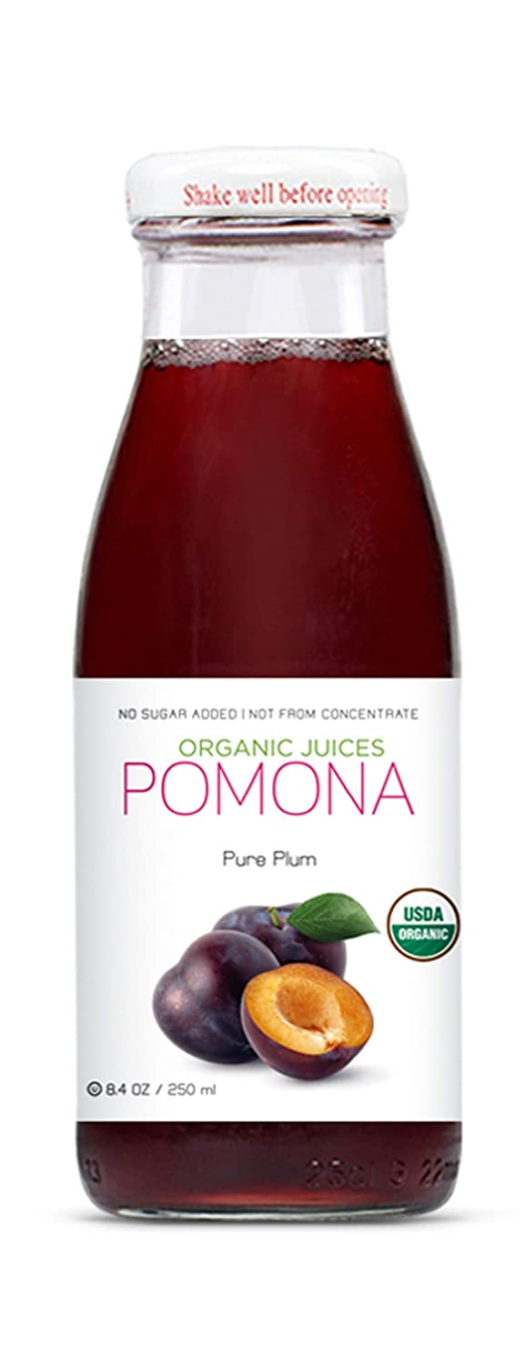 POMONA Organic Pure Plum Juice, 8.4 Ounce Bottle (Pack of 12), Cold Pressed Organic Juice, Non-GMO, No Sugar Added, Not from Concentrate, Gluten Free, Kosher Certified, Preservative Free