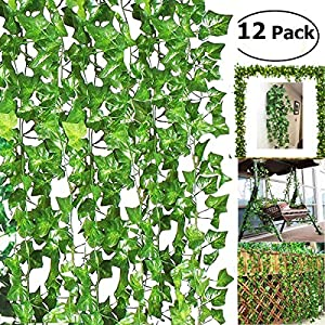 BJH 6ft Artificial Eucalyptus Garland Faux Silk Eucalyptus Leaves Vines Handmade Garland Greenery Wedding Backdrop Arch Wall Decor 42