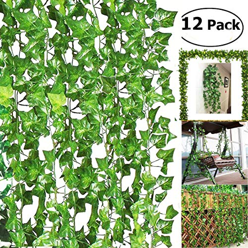 BJH 84 Ft-12 Pack Artificial Ivy Leaf Garland Plants Vine Hanging Wedding Garland Fake Foliage Flowers Home Kitchen Garden Office Wedding Wall Décor