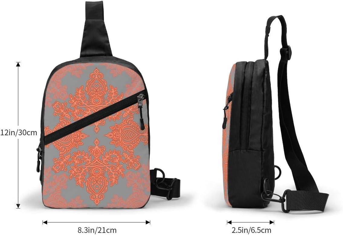 Burnt Orange Coral /& Grey Doodle Pattern Chest/Sling/Bag/Crossbody/Backpack/Shoulder/Casual/Daypack/Rucksack/for/Men/Women/Outdoor/Cycling/Hiking/Travel