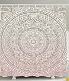 Ambesonne Abstract Shower Curtain Paisley Medallion Mandala Decor by, Hippie Boho Bohemian Decorations Geometric Decor Meditation Art Printed Fabric Bathroom Accessories, 69 x 70 Inches, Taupe Pink