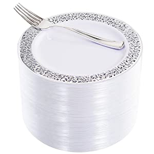 """WDF 100pcs Silver Dessert Plates 7.5"""" with 100 Pieces Disposable Forks 7.4"""",Lace Design Wedding Party Plastic Plates, Fancy Salad Plates and Appetizer Plates for all Holidays & Occasions"""
