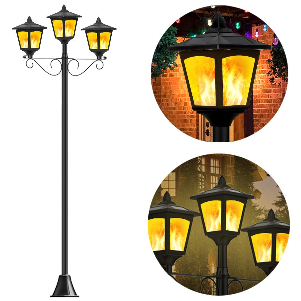 "Shengsite 72"" Solar Post Lights Outdoor Decorative 3 Light Lamp Post"