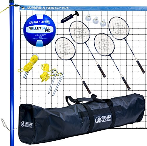 Park & Sun Sports Volley Sport Combo Set: Portable Outdoor Badminton/Volleyball Net System, -
