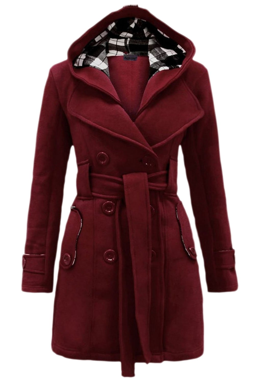 Women British Style Waistband Zipper Hoodie Winter Warm Trenchcoat Outwear Wined S