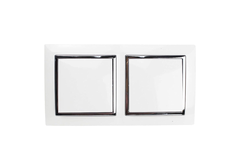 Doble Interruptor de pared,Doble interruptor conmutador de superficie con marco en color blanco.