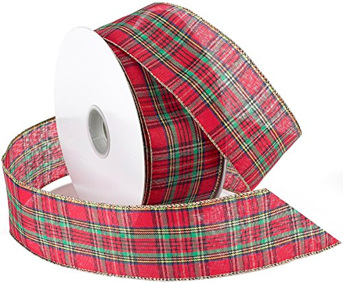 Morex Ribbon Festival Wired Plaid Fabric Ribbon, 2-1/2-Inch by 50-Yard Spool, Red - Plaid Wired Ribbon