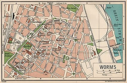 Detailed Map Of Germany With Cities And Towns.Amazon Com Worms Vintage Town City Map Plan Germany 1933 Old