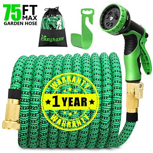 EASYHOSE 75ft Expandable Water Garden Hose,Expanding Flexible Hose with Strength Stretch Fabric with Brass Connectors – 9 Way Spray Nozzle +12 Months Warranty