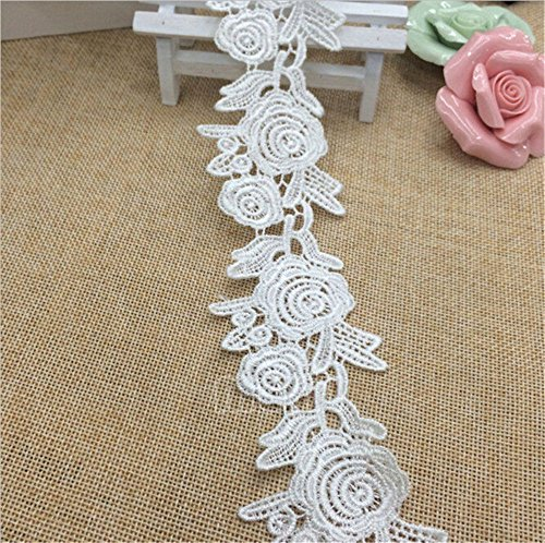 5 Meters Rose Polyester Silk Lace Edge Trim Ribbon 5 cm Width Vintage Style White Edging Trimmings Fabric Embroidered Applique Sewing Craft Wedding Bridal Dress Embellishment Decor Clothes Embroidery