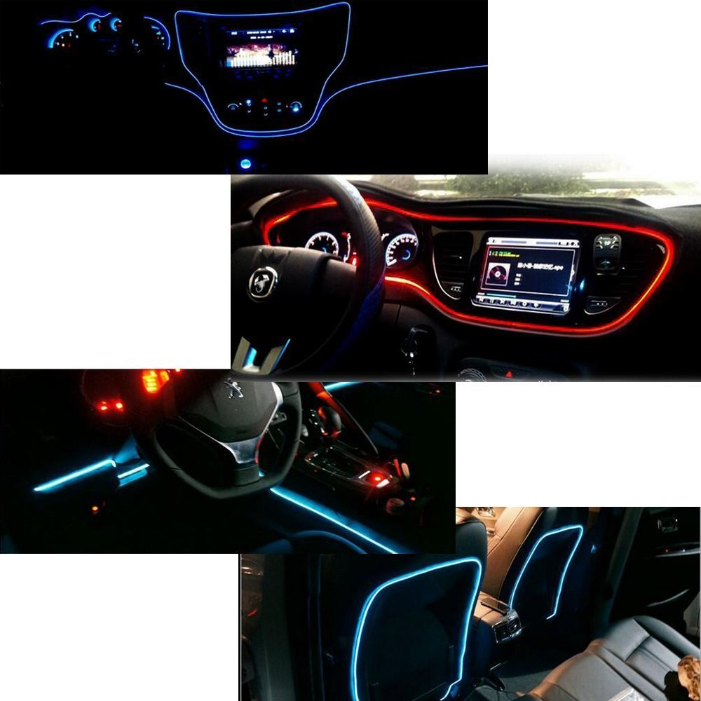 197inch//500cm, orange HomDSim 118inch 300cm Auto Car Interior Decor LED Neon Light Lamp Glow EL Wire String Strip 12V