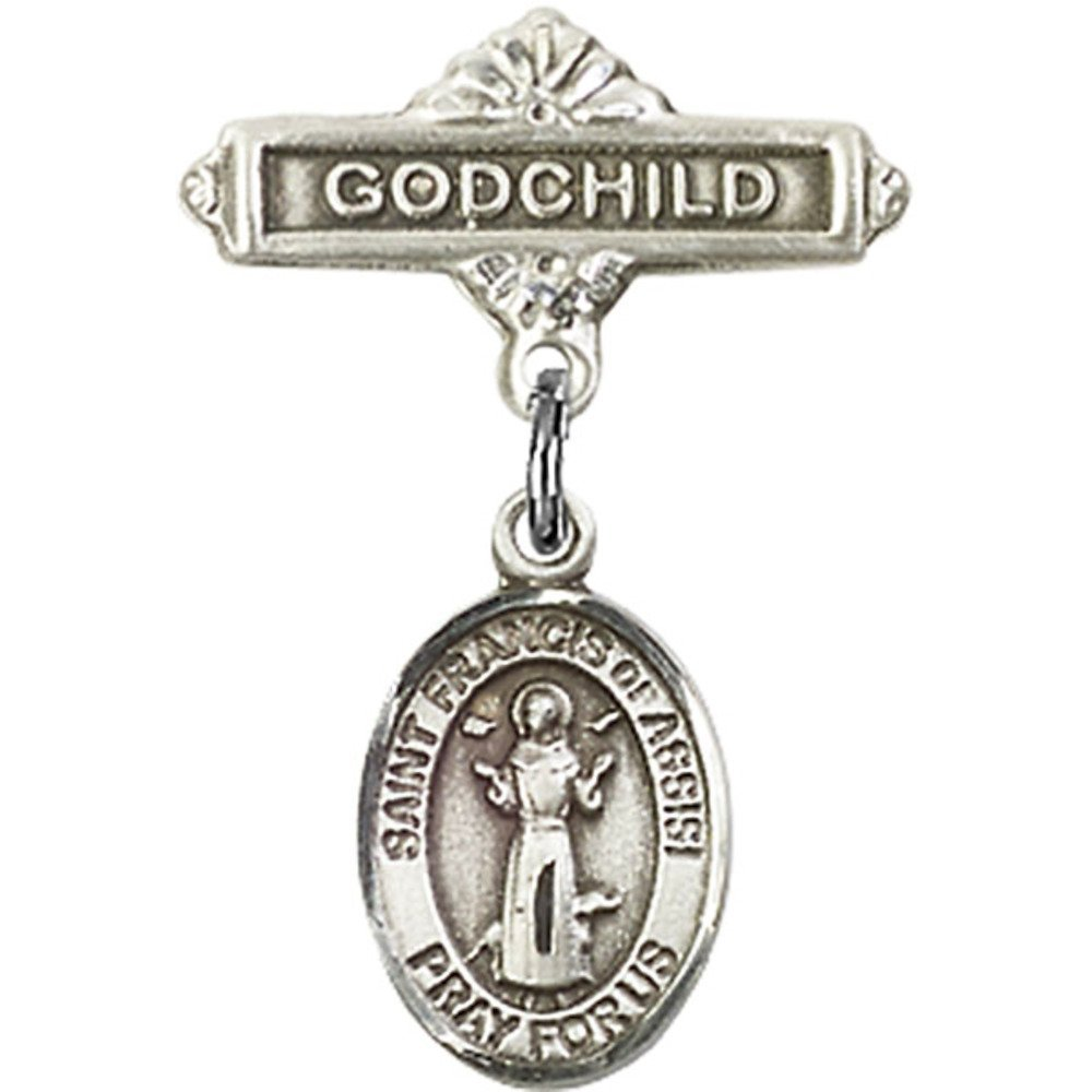 Sterling Silver Baby Badge with St. Francis of Assisi Charm and Godchild Badge Pin 1 X 5/8 inches