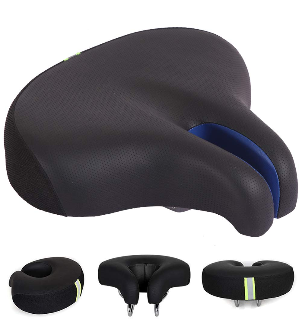 Mastere Noseless Bike Seat Comfortable Wide Bicycle Saddle, Replacement Soft Pad Sports Cycling Cushion, Universal Fit for Indoor Outdoor Bikes for Men & Women Black (Black+Bule)