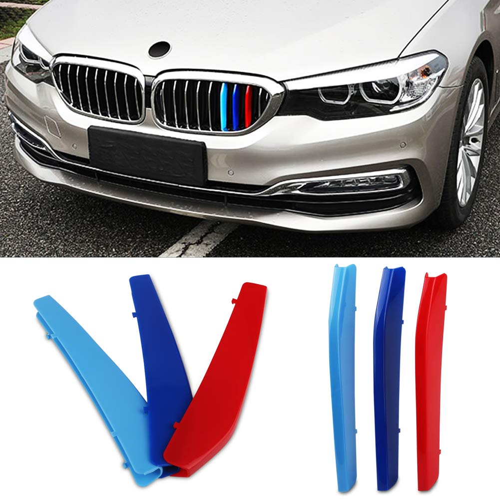 VANJING M-Colored Stripe Grille Insert Trims for BMW 2014-2015 7 Series 740i 740Li 750i 750Li Kidney Grills 9 Beams