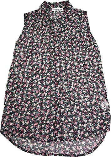 Flowers by Zoe - Big Girls' Sleeveless Floral Button Down Blouse, Black 33120-10 -