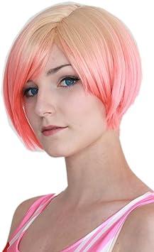 Prettyland Perruque Courte Blonde Rose Meches Coupe Bob A Carre Ombre Dip Dye Femme Lisse C694 Amazon Fr Beaute Et Parfum