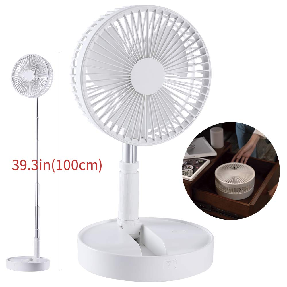 Height Adjustable Desk Fan-Folding and Portable Floor Fan-4 Speed Mini USB Fan-Rechargeable Camping Fan Use for Home Outdoor and Office by VS-Foru
