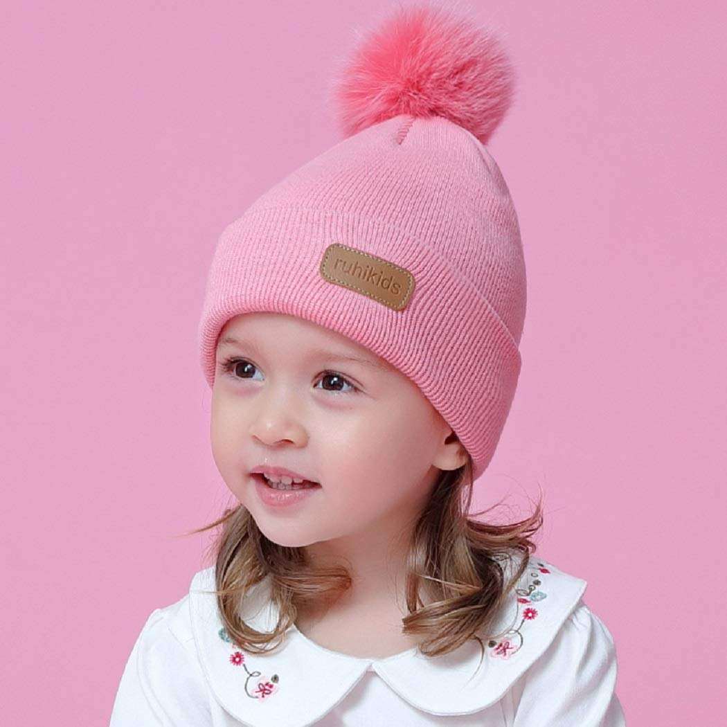 Connectyle Toddler Baby Kids Cotton Beanie Hat with Pom Pom Knitted Winter Hats