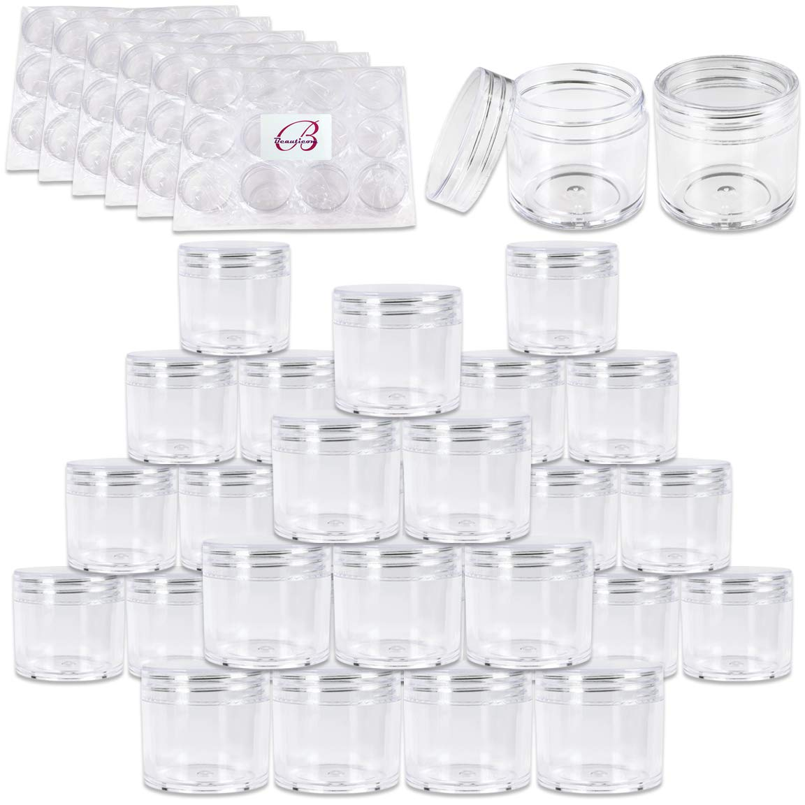 Beauticom 180 Pieces 30G/30ML(1 Oz) Thick Wall Round CLEAR Plastic Container Jars with Clear Flat Top Lids - Leak-Proof Jar - BPA Free by Beauticom