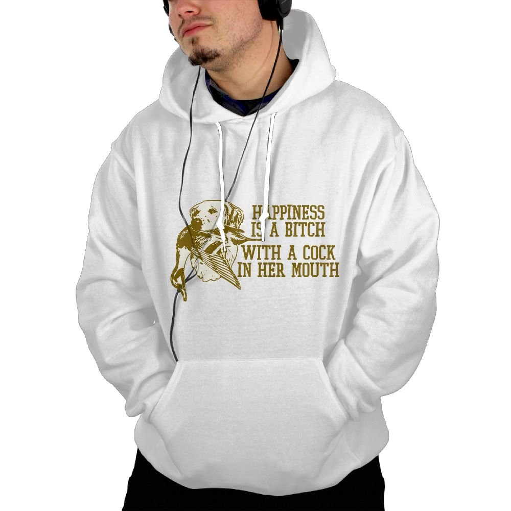 UUE Mens Pullover Hoodie Sweatshirt With Pockets Print Happiness Is A Bitch Design For Men Boys