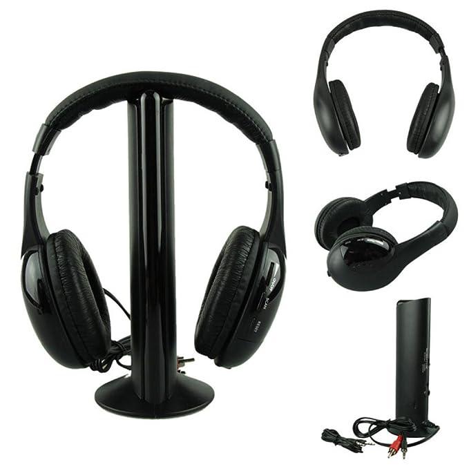 MYQyiyi 5 en 1 Auricular Audio sin Hilos Hi-Fi FM Radio TV MP3 MP4 (Negro): Amazon.es: Deportes y aire libre