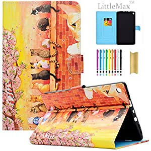 Kindle Fire HD 8 Case,LittleMax PU Leather Case Flip Stand Protective Auto Wake / Sleep Cover for Amazon Kindle Fire HD 8 7th Gen & 6th Gen with Free Stylus-02 Cat Family
