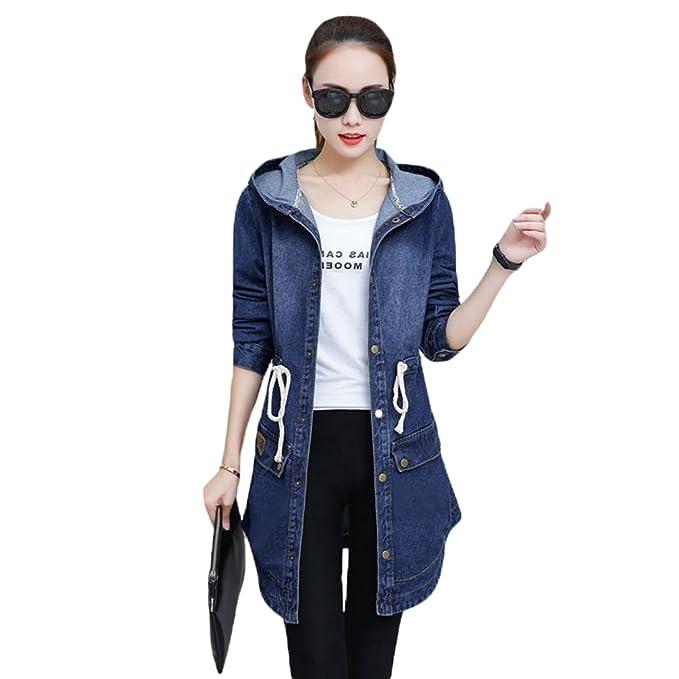 YAANCUN Mujer Primavera Y Otoño Denim con Capucha Chaquetas para Otoño Invierno Coat Jacket